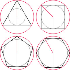 Geometric figures, escribed circle of a triangle, escribed circle of a square, inscribed circle of a triangle, inscribed circle of a square, pentagon, hexagon, regular.