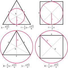 Geometric figures, escribed circle of a triangle, escribed circle of a square, inscribed circle of a triangle, inscribed circle of a square,