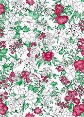 Seamless flower pattern with Color background