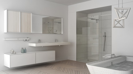 Unfinished Project Of Minimalist Bright Bathroom With Double Sink, Shower  And Bathtub, Sketch Abstract