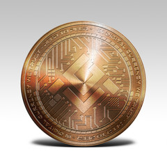 copper mobilego coin isolated on white background 3d rendering