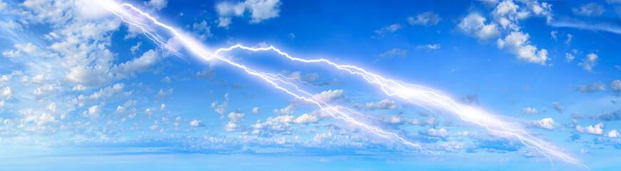 Thunder and lightning in the blue sky
