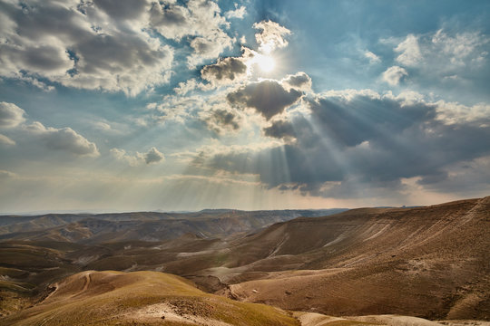 Light falling trough clouds at the Israeli mountains