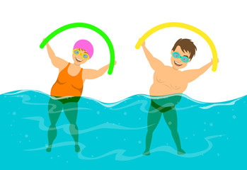 overweight couple, man and woman do water aqua fitness aerobics in the  swimming pool