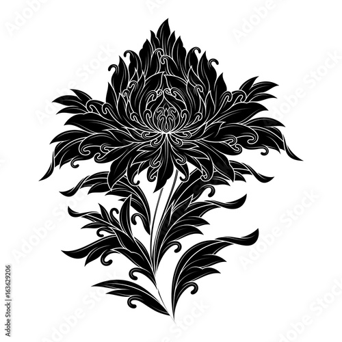 beautiful decorative tibetan flower, stencil design, isolated object