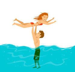 cute funny couple having fun in a pool, guy lifting up a girl above the water. summer beach fun vector illustration