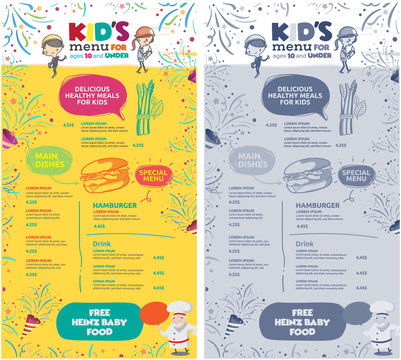 vector kids menu template.