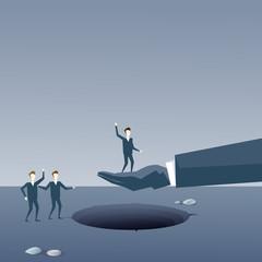 Business Hand Hold Businessman Over Hole Partner Support Businesspeople Risk Concept Flat Vector Illustration