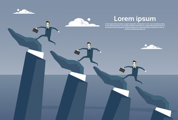 Businesspeople Group Running On Business Hands Up Progress Career Development Concept Flat Vector Illustration
