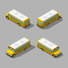 Yellow isometric 3d school bus. Flat style vector illustration