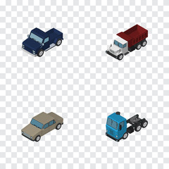 Isometric Transport Set Of Auto, Freight, Suv And Other Vector Objects. Also Includes Auto, Sedan, Lorry Elements.
