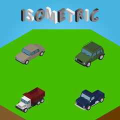 Isometric Automobile Set Of Auto, Armored, Freight And Other Vector Objects. Also Includes Suv, Truck, Freight Elements.