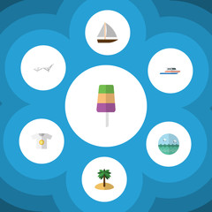 Flat Icon Summer Set Of Boat, Clothes, Coconut And Other Vector Objects. Also Includes Sun, Sunbed, Clothes Elements.