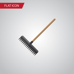 Isolated Rake Flat Icon. Harrow Vector Element Can Be Used For Rake, Harrow, Tool Design Concept.