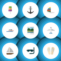 Flat Icon Beach Set Of Beach Sandals , Sundae, Scuba Diving Vector Objects. Also Includes Boat, Diving, Sundae Elements.