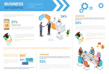Business Infographics Set With Copy Space For Presentation Meeting Negotiation Concept Flat Vector Illustration