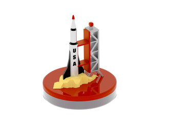 USA rocket on launch pad 3D illustration
