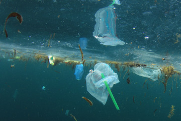Plastic straws, carrier bags and other garbage pollution in ocean