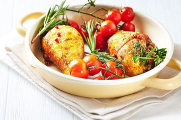 Roast Chicken Legs with Cherry Tomatoes and Herbs