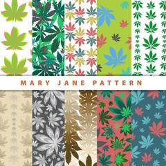 Ganja marijuana seamless pattern on colorful backgrounds. Cannabis colorful leafs seamless wallpaper. Marijuana natural weed. Vector illustration art.