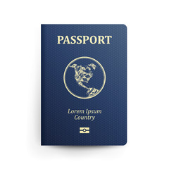 Passport With Map. Realistic Vector Illustration. Blue Passport With Globe. International Identification Document. Front Cover. Isolated