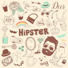 Freehand Hipster Elements Set. Hand Drawn Vintage Fashion Doodle. Vector illustration