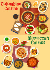 Colombian and moroccan cuisine icon set design