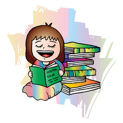 Cartoon little girl enjoying reading book.