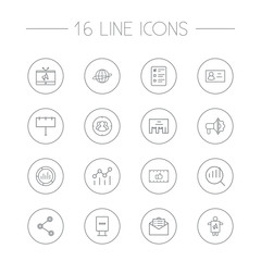 Set Of 16 Trade Outline Icons Set.Collection Of Target, Email Promotion, Client Brief And Other Elements.
