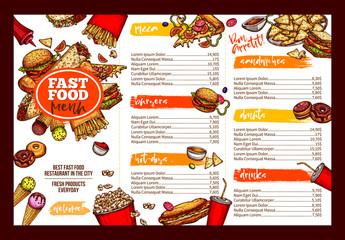 Fast food restaurant menu brochure template design