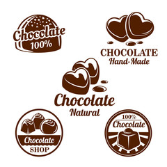 Chocolate, cacao sweets symbol set for food design