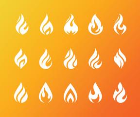 Set of white fire flame icons and logo isolated on orange background.