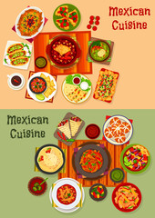 Mexican cuisine national dinner dishes icon set