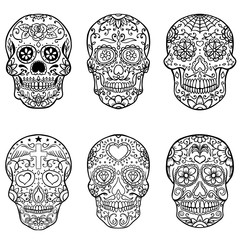 Set of hand drawn sugar skulls. Day of the Dead. Dia de los Muertos. Vector illustration