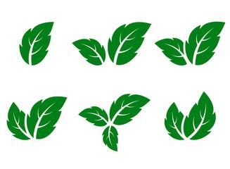 green leaf icons set