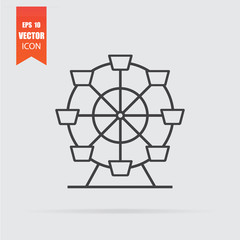 Ferris wheel icon in flat style isolated on grey background.
