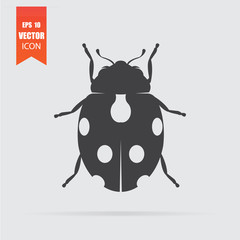 Ladybug icon in flat style isolated on grey background.