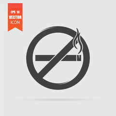 No smoking sign icon in flat style isolated on grey background.