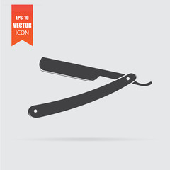 Straight razor icon in flat style isolated on grey background.