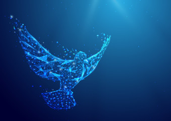 Wireframe Peace dove sign mesh from a starry on blue background.  International Peace Day