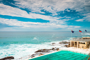 Bondi Beach view at open swimming pool with ocean