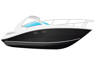 Vector illustration of black modern boat.