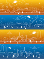 Fototapete - Airport panorama. The plane is on the runway. Aviation transportation infrastructure. Airplane fly, people get on the aircraft. Night city on background, vector design art