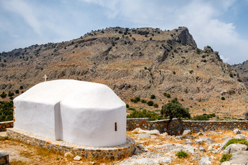 Old Chapel between Pefki and Lindos on the Island of Rhodes, Greece.
