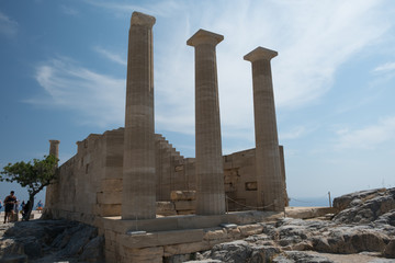 Ruins of an ancient Greek temple on Lindos Acropolis. Dodecanese Islands, Greek Islands, Greece, Europe