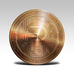 copper pivx coin isolated on white background 3d rendering
