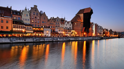Photo on textile frame City on the water Old town of Gdansk