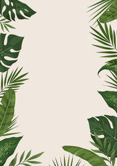 Vector frame with different tropical leaves. Trendy сoncept of the jungle for the design of invitations, greeting cards and poster