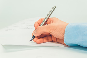 Person hand sign document