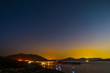Porto Conte bay on a clear night
